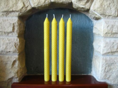 4 Handmade Pure Beeswax Dinner / Dining Candles 27.5cm x 1.8cm (Free Shipping UK)